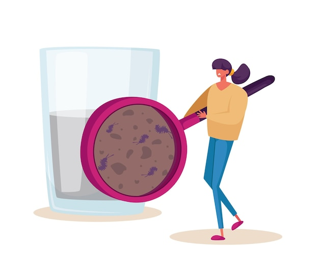 거대한 돋보기를 통해 더러운 물에 사는 마이크로 유기체를 보는 작은 여성 캐릭터. 여과되지 않은 아쿠아에서 미생물을 보여주는 여성