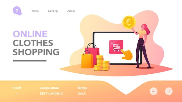 Tiny female character make purchase in one click in internet store landing page template. online shopping. girl customer with money and bags buy goods at huge gadget. cartoon vector illustration