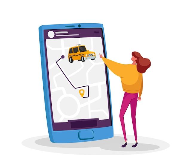 스마트 폰 앱을 통한 작은 여성 캐릭터 주문 택시. 택시 택시 주문에 대한 응용 프로그램을 사용하는 젊은 여자
