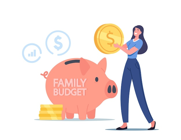 작은 여성 캐릭터가 거대한 돼지 저금통에 동전을 넣습니다. 여자는 가족 예산, 현금, 재정적 이익을 위해 돈을 모읍니다. 보편적 기본 소득, 급여 및 부의 개념을 얻습니다. 만화 벡터 일러스트 레이 션