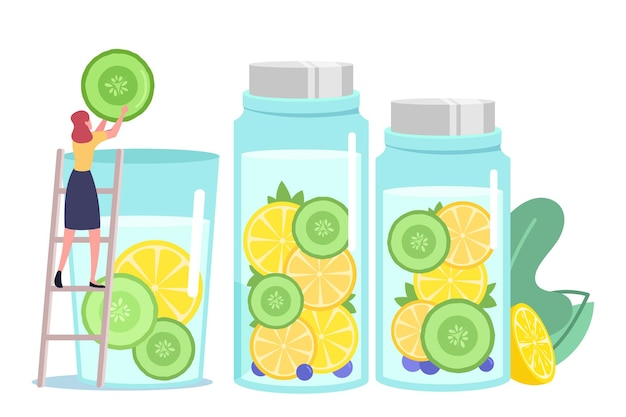 Tiny female character put cucumber slice in huge water glass cooking infused water, smoothies or lemon juice
