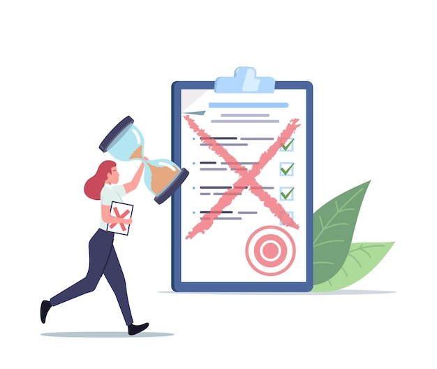 Tiny female character run with huge sandglass and paper document with red cross. office employee need to rework bad work in office. mistake, deadline stress concept. cartoon people vector illustration