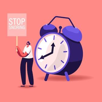 小さな女性キャラクターが巨大な目覚まし時計に立ち、バナーが手にいびきをかくのをやめます。