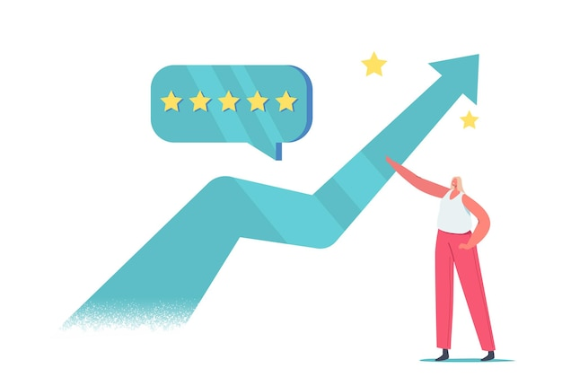 Tiny female character stand at huge growing arrow with five stars quality level customer feedback bubble