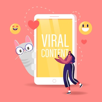 Tiny female character teenager watching funny viral video clip on smartphone walk near huge mobile phone with cute cat, cartoon illustration