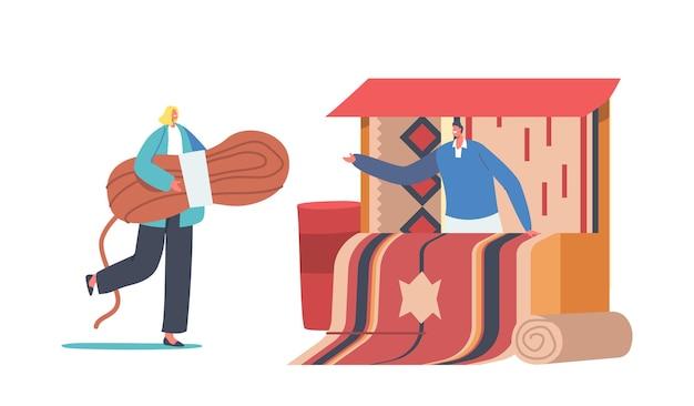 동양 장식으로 전통적인 수제 카펫을 판매하는 남자와 포장 마차 근처에 실의 거대한 타래와 작은 여성 캐릭터
