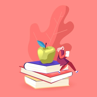 巨大な本の山に座っているタブレットpcと小さな女性キャラクター