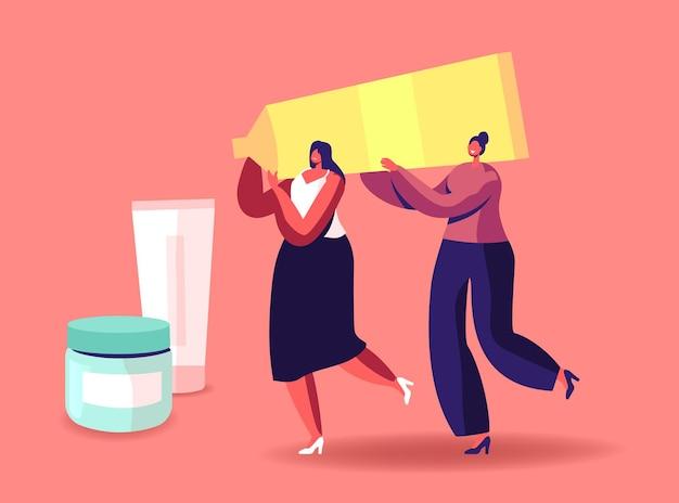 小さな女性キャラクターは巨大な化粧品チューブを運びます。女性は美容師のパーラーで時間を過ごす