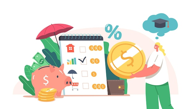 Tiny female characters collect coins into huge piggy bank for education. earn and save money, universal basic income, capital, wealth, family budget savings concept. cartoon vector illustration