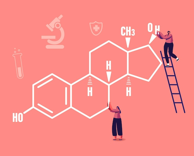 Tiny female characters at huge estrogen formula with medical icons. cartoon illustration