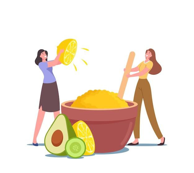 스파 살롱이나 가정 위생 절차를 적용하기 위해 레몬 주스, 아보카도, 아로마 오일의 피부 미백을 위한 거대한 그릇에 미용 제품을 만드는 작은 여성 캐릭터. 만화 사람들 벡터 일러스트 레이 션