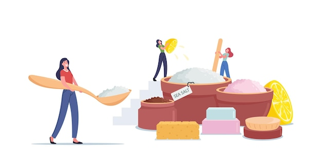 Tiny female characters making beauty product of sea salt, lemon juice and aroma oils for applying peeling massage or salt scrub in spa salon or home hygiene. cartoon people vector illustration