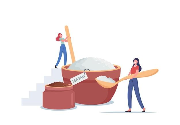 Крошечные женские персонажи делают натуральный косметический продукт из морской соли для применения пилинг-массажа или солевого скраба в спа-салоне или дома, средство для гигиенической процедуры. мультфильм люди векторные иллюстрации