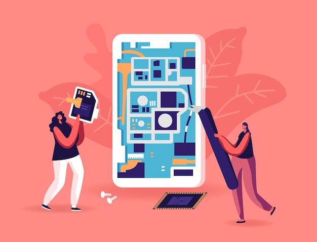 Tiny female characters repair huge smartphone put secure digital memory card into cellphone.