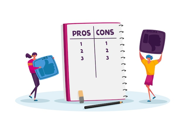 Tiny female characters with huge thumb up icons make decision at notebook with pros or cons list