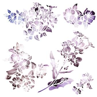 Крошечные силуэты цветов с текстурой фиолетовых чернил