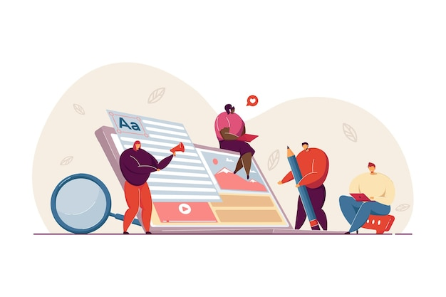 Tiny freelance blog writers creating marketing content on internet