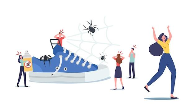 거대한 거미를 두려워하는 작은 겁 먹은 어린 캐릭터. 남성과 여성은 거미 공포증 정신 질환을 앓고 있습니다. 사람들은 무서운 곤충을 두려워하고 공황과 충격에 비명을 지릅니다. 만화 벡터 일러스트 레이 션