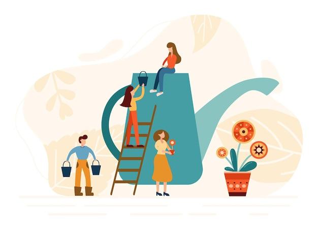 작은 gardering 사람들은 식물을 재배합니다. 농사일을 하는 노동자들. 화분에 새로운 꽃을 심습니다. 벡터 일러스트 레이 션.