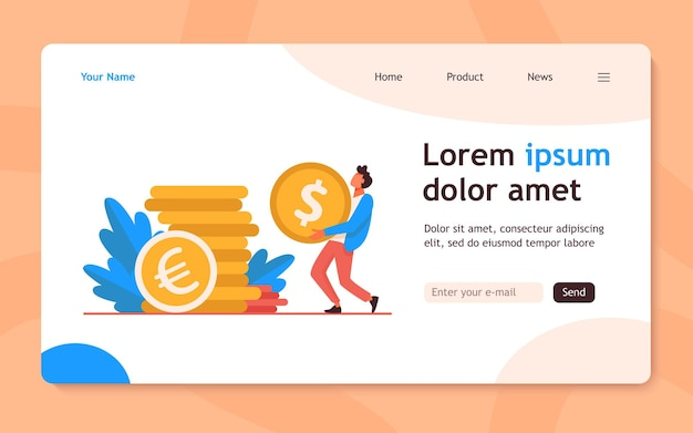 Tiny guy carrying huge gold coin. dollar, cash, money flat  landing page. finance and banking concept for banner, website design or landing web page