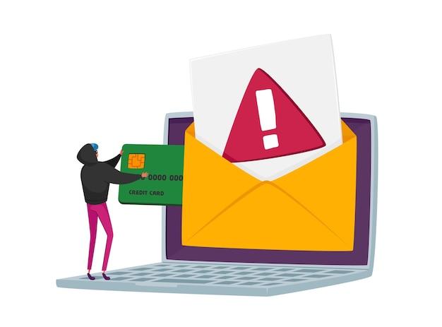 小さなハッカーのキャラクターがクレジットカードをハッキングし、ノートパソコンの画面から個人データを盗む