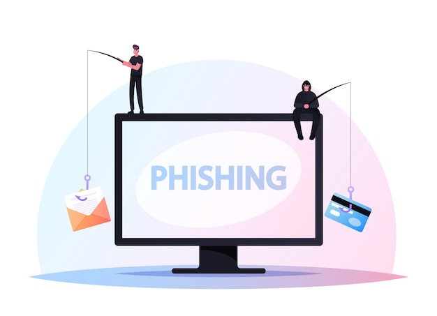 Tiny hackers male characters sitting on huge computer with rods phishing via internet