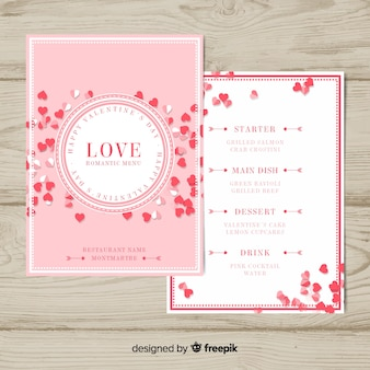 Tiny hearts valentine menu template