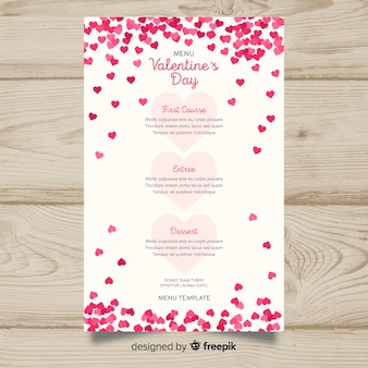 Tiny hearts valentine's day menu template