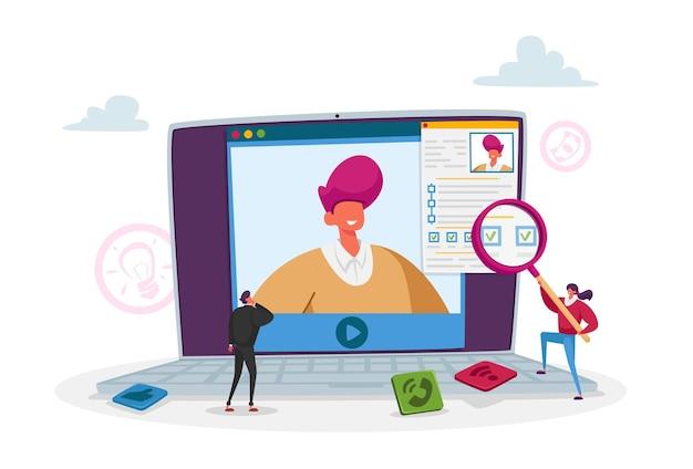 Персонажи крошечных сотрудников отдела кадров читают резюме кандидата на огромном экране компьютера