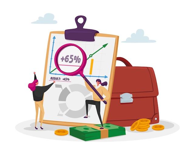 Крошечные инвесторы-женщины-персонажи смотрят на растущую стрелку в огромном портфеле