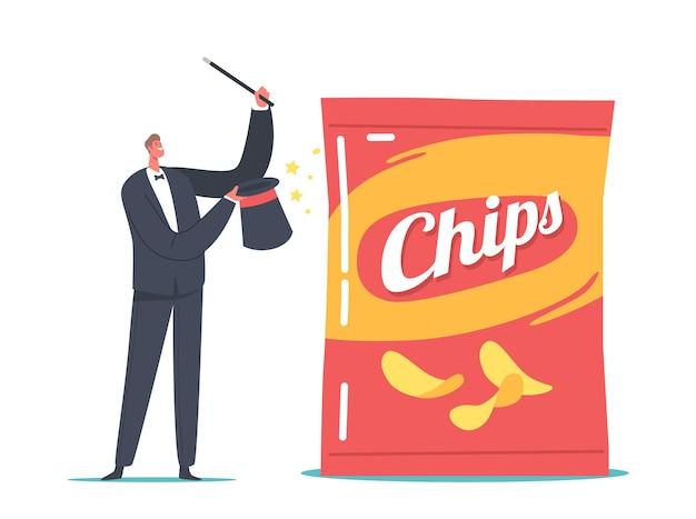 Крошечный персонаж-волшебник с палочкой, представляющий маркетинговые трюки с огромной упаковкой чипсов, шоу-исполнитель, упаковка поддельного продукта с меньшим количеством закусок внутри, чем в обычной упаковке. векторные иллюстрации шаржа