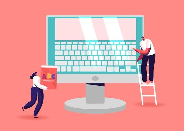 화면에 키보드가있는 거대한 컴퓨터 모니터에서 작은 남성과 여성 캐릭터.