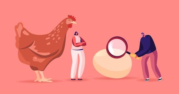 돋보기가 있는 거대한 암탉의 작은 남성 및 여성 캐릭터가 닭이나 달걀이 먼저 나온 역설을 해결합니다