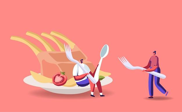 Крошечные мужские и женские персонажи на огромной тарелке с ребрышками Premium векторы