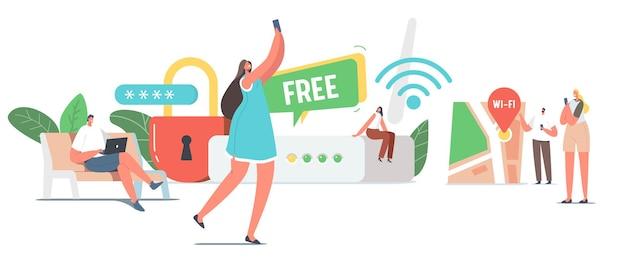 巨大なルーターの小さな男性と女性のキャラクターは、wifiワイヤレス接続を介してラップトップとスマートフォンでインターネットを使用しています。最新のネットワークテクノロジー、無料のwi-fiホットスポット。漫画の人々のベクトル図