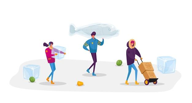 小さな男性と女性のキャラクターは、巨大な冷凍魚と箱を持ち運び、周りに角氷のある製品を運びます。健康的な冷蔵食品。長期保管のために生産を凍結する人々。漫画
