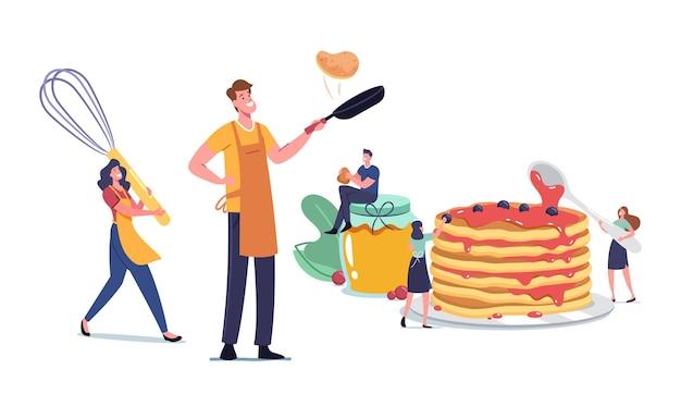 집에서 만든 팬케이크를 요리하고 먹는 작은 남성과 여성 캐릭터. 아침에 가족을 위해 플랩잭을 튀기는 거대한 주방 도구로 앞치마를 입은 남자와 여자. 만화 사람들 벡터 일러스트 레이 션