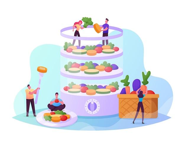 二重ボイラーの健康的なビタミン食品で調理する小さな男性と女性のキャラクター