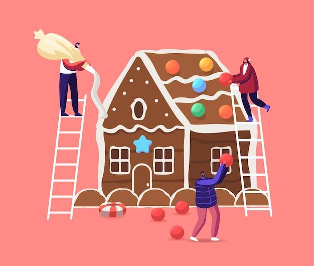 小さな男性と女性のキャラクターが巨大なクリスマスのジンジャーブレッドハウスをクッキー、クリーム、お菓子で飾ります