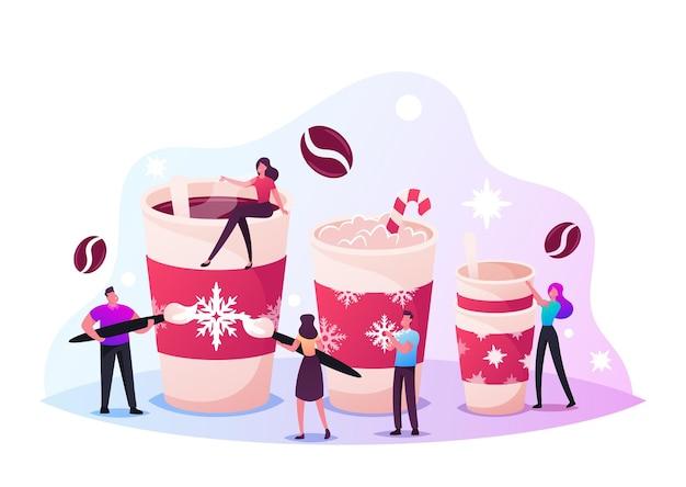 작은 남성과 여성 캐릭터는 커피를 마시고 크리스마스 휴가를 위한 눈송이 장식으로 거대한 컵을 장식합니다. 크리스마스 음료, 코코아, 머그잔에 담긴 뜨거운 음료. 만화 사람들 벡터 일러스트 레이 션