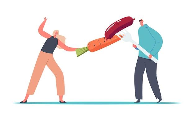 フォークに巨大なニンジンとソーセージでフェンシングする小さな男性と女性のキャラクター。健康的および不健康な栄養の支持者、肉食者対菜食主義者の戦い。漫画の人々のベクトル図