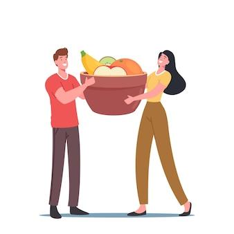健康のための新鮮な果物、強化された栄養、スキンケアのための健康食品、ビーガン食、生態学的栄養のための巨大なボウルを保持している小さな男性と女性のキャラクター。漫画の人々のベクトル図