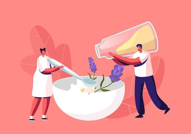 小さな男性と女性のキャラクターが、天然成分の花とエッセンシャル オイルを巨大なボウルに注ぎ、スプーンで混ぜて手作り石鹸を作る