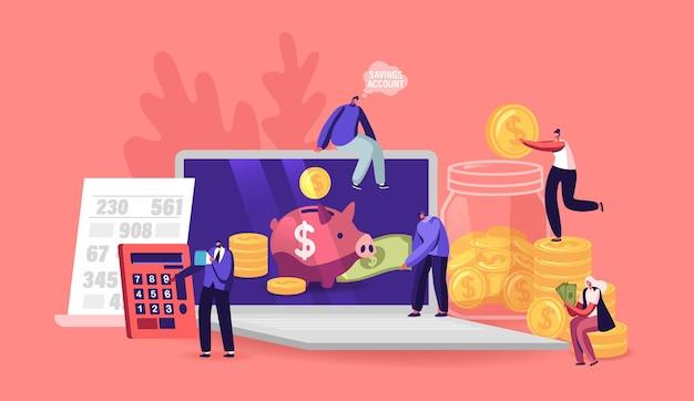 작은 남성과 여성 캐릭터는 노트북 화면의 거대한 돼지 저금통에 황금 동전을 넣습니다. 돈 저축 계정, 금융, 예산 개념입니다. 금융투자예금. 만화 사람들 벡터 일러스트 레이 션