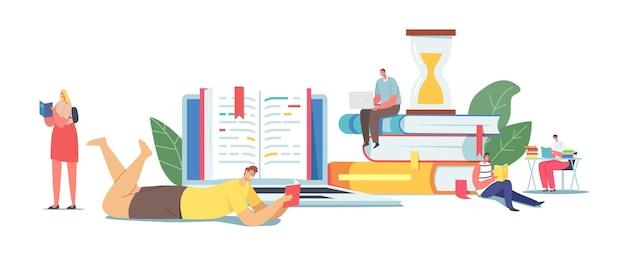 거대한 책 더미에서 읽는 작은 남성과 여성 캐릭터. 젊은 여자와 남자 학생 또는 책벌레는 도서관에서 시간을 보내거나 시험을 준비하여 지식을 얻습니다. 만화 사람들 벡터 일러스트 레이 션