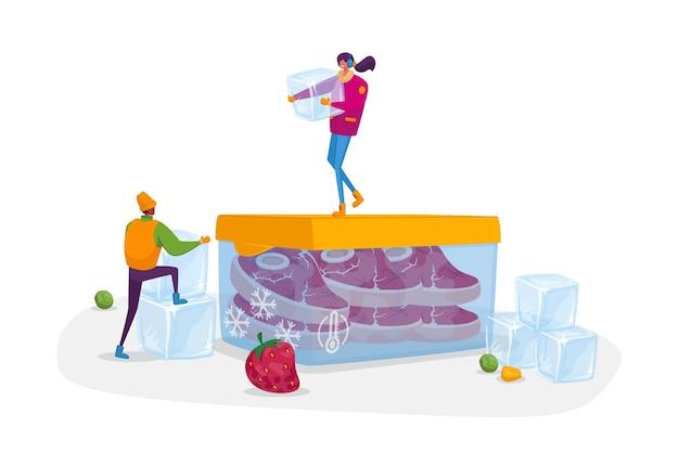 Крошечные мужские и женские персонажи с кубиками льда в зимней одежде стоят на огромном контейнере с замороженным мясом. продукты холодильные, продукты питания, свежие ягоды, овощи. мультфильмы
