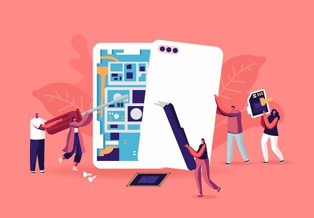 Крошечные мужские и женские персонажи с инструментами, собирающими или ремонтирующими концепцию огромных смартфонов. мужчины и женщины ремонтируют мобильный телефон, собирают мобильные телефоны, карту памяти. мультфильм люди векторные иллюстрации