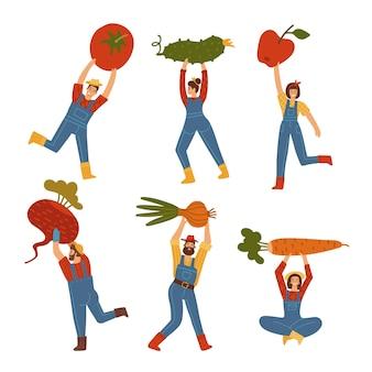 Крошечные мужчины и женщины, несущие гигантские овощи и коренья, мужчины и женщины, фермеры, персонажи ...