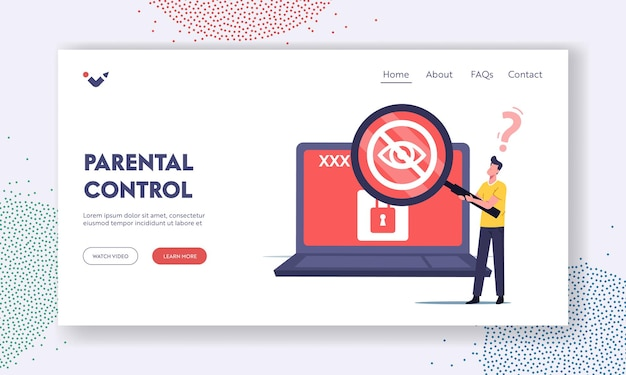Tiny male character browsing or searching sensitive adult content landing page template. man with huge magnifier look on laptop screen with crossed eye and lock, xxx movie. cartoon vector illustration