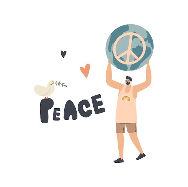 小さな男性キャラクターが巨大な平和のシンボルを運ぶ